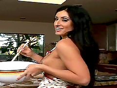 Luscious Lopez fingers her ass and gets stunningly fucked in the kitchen