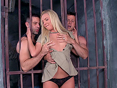 long haired blonde gets threesome anal and pussy pounding in prison