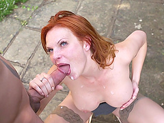 Tarra White is fucked outdoors by a large cock