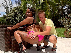 Ebony girl with a big ass hooks up with a white guy
