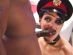 Brunette Lieutenant Gets Fucked In A Hardcore Interracial Sex