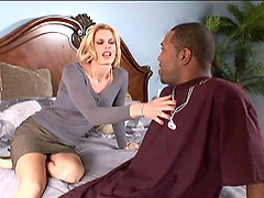 A black stud tricks a sweet mature lady to bed for a wild fuck session