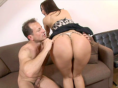 Smooth brunette with natural tits receives a hardcore dicking