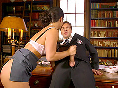 Flamboyant blonde banged with a big cock in the middle of the office