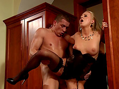 Classy blonde stunner Carla Cox allows her man to pummel her snatch