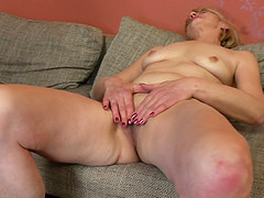 Blonde mature granny Meriska B. fingers her pussy and cums