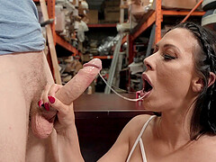 Busty Rachel Starr rides cock in ripped pantyhose at a warehouse
