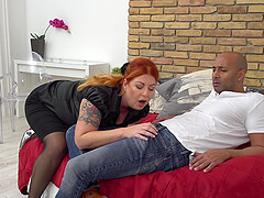 Redhead BBW MILF in stockings Alex pounded hard by a big black cock