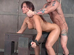 Voluptuous brunette MILF slave Syren De Mer abused by two studs