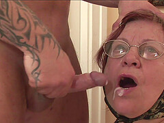 Mature granny with saggy tits gets cum on her face after a doggy fuck