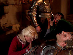 Medieval role play orgy with Kristi Love swallowing loads of cum