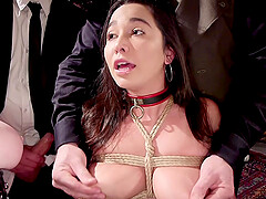 Karlee Grey sucks dick and gets pounded in a public group fuck session