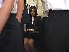Yui Igawa the hot office babe gets fucked in crowded bus
