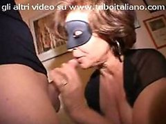 Masked Italian Mature Sucks and Fucks Big Cocks in a Kinky Threesome