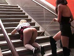 Gorgeous blond gets fucked at the entrance to the subway station!