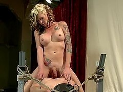 Morgan Bailey the blonde tranny fucks a muscular guy