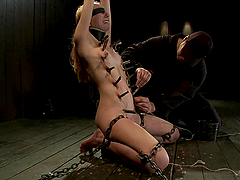 Sassy blond gets nailed on the ground and waxed