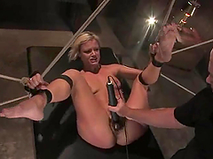 Bounded Jasmine Jolie gets her pussy licked and toyed