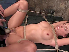 Sexy babe with petite tits is being tied up and balled