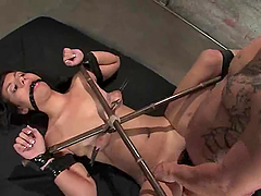 Cute Alana Leigh takes big dick in her pussy in BDSM video