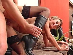 Short-haired blonde mom Katerina enjoys jumping on a cock