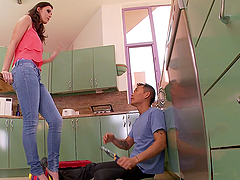 Jennifer Dark gets her feet licked and enjoys hot sex in the kitchen