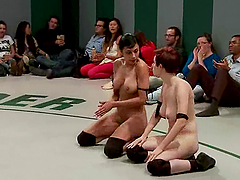 Many lesbians bang on tatami after having a wrestling match