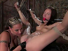 Cute brunette gets her cunt fucked and fisted in stunning BDSM clip