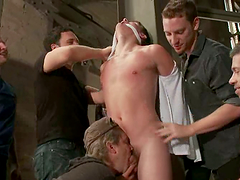 A poor dude gets tied up and gets fucked by other dudes