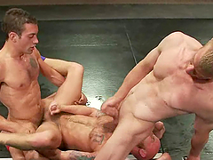 Three Homosexuals Go Hardcore After Wrestling Together