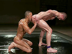 Oiled gays Troy Daniels and Sami Damo fuck in cowboy pose on tatami