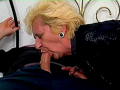 Blonde granny Beatrice enjoys sucking and riding a hard prick