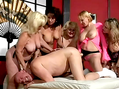 Bunch of mature ladies are humiliating that man