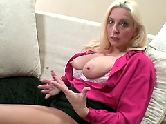 Busty mature blonde sucks and jerks three big cocks