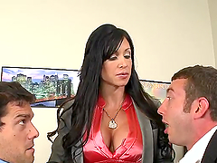 Busty lady boss has threesome sex in her office