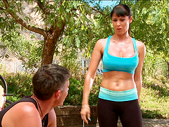 Sporty Eva Karera gets fucked hard in the mountains