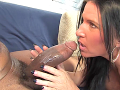 Brunette Kendra Secrets has wild interracial sex on a sofa