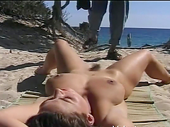 Gorgeous Brunette Goes Really Hardcore At The Beach