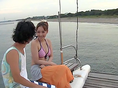 While on a Yacht This Japanese Girl Gives a Blowjob