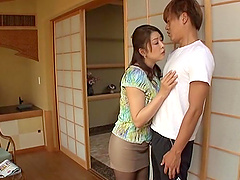 Busty mom Aoi Nagase gives a hot blowjob to a horny man