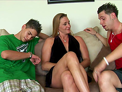 Two studs fucking and creaming a hot cock sucking blonde MILF
