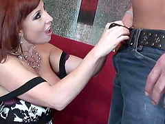 Redhead cougar unbelts her dude gives blowjob and rides cock hardcore