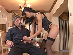 Suzie Diamond rides two monster cocks hardcore in hot orgasm