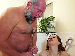 Gorgeous Hadjara Licks A Old Man's Ass And Drinks His Piss