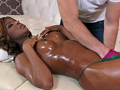 Massage makes Jasmine Webb horny for interracial sex