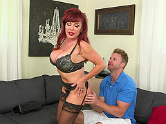 Redhead mom Vanessa Bella blows and enjoys it hard from behind