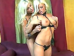 Bleach blonde hair and beautiful big tits on two fingering ladies