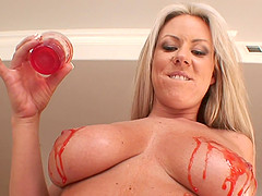 Blonde with big tits stripteasing before giving out superb titjob in pov shoot