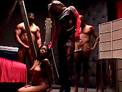 Charming slaved cowgirl getting banged doggystyle in femdom bdsm sex