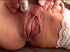 POV close up of Asian pussy and vibrator stunt plus an intensified blowjob